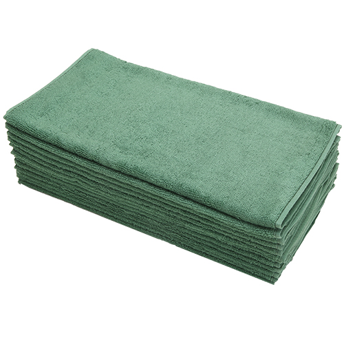 Car Wash Cotton China Terry Cloth Cleaning Drying Towels, Green, Pack of 12