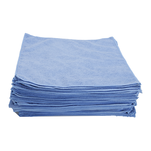 "Economy All Purpose Microfiber Towel Overlock Stitched Wheel Cleaning, 240 GSM, 16"" x 16"" , Light Blue, Pack of 50"